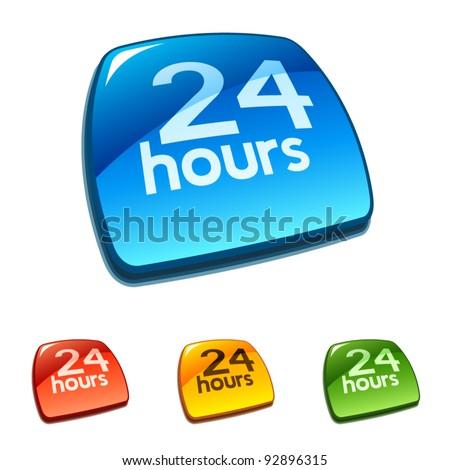 24 hours sign - stock vector