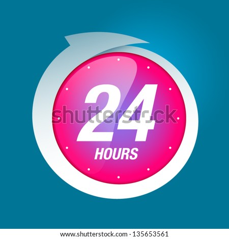 24 hours white and pink badge icon vector illustration