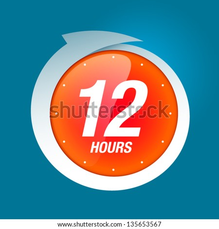12 hours white and red badge icon vector illustration