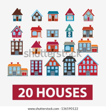 20 houses, buildings icons, signs, vector set