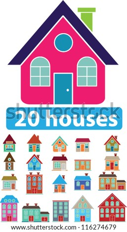 20 houses icons set, vector