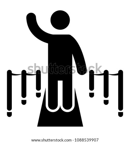 Human glyph icon of a celebrity walking and posing on red carpet