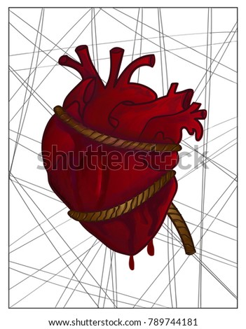 human heart strain with rope
