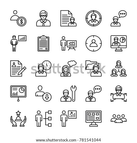 Human Resources Line Vector Icons Set   #781541044