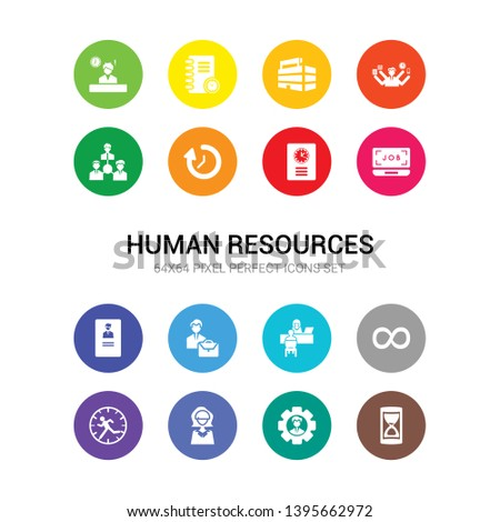 16 human resources vector icons set included hourglass, human resources, humanpictos, hurry, infinite, interview, job, job application, job search, list, loop icons