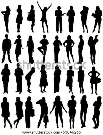 32 human shape silhouettes - vector Stock photo ©