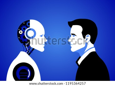 Humans vs Robots. Concept business illustration. Vector flat