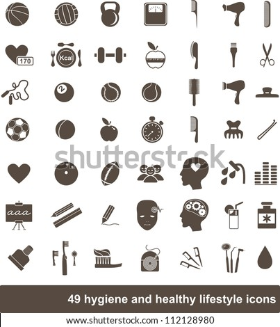 49 hygiene and healthy lifestyle icons