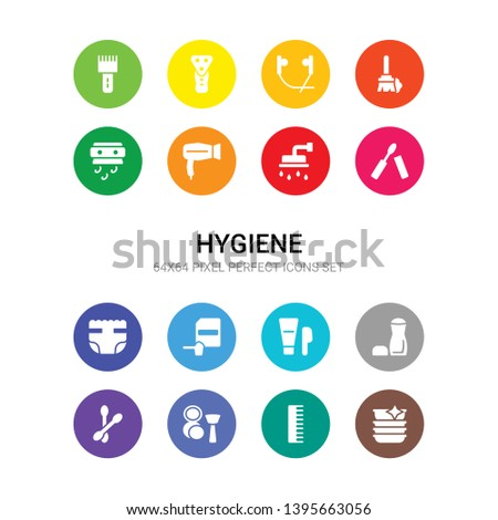 16 hygiene vector icons set included clean dishes, comb, cosmetics, cotton swab, deodorant, depilator, detergent dose, diaper, dolled up, douche, dryer icons