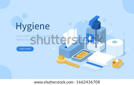 Hygienic Products in Bathroom. Liquid Soap, Shower Brush, Toilet Paper, Cleaning Tissues and Towel.  Accessorizes for Bath, Shower and Health Care. Flat Isometric Vector Illustration.