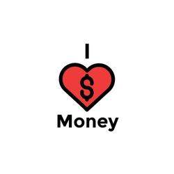 i love money Illustration. money business accounting presentation finance, flat graphic symbol Modern outline icons for mobile application and web concepts. white background.