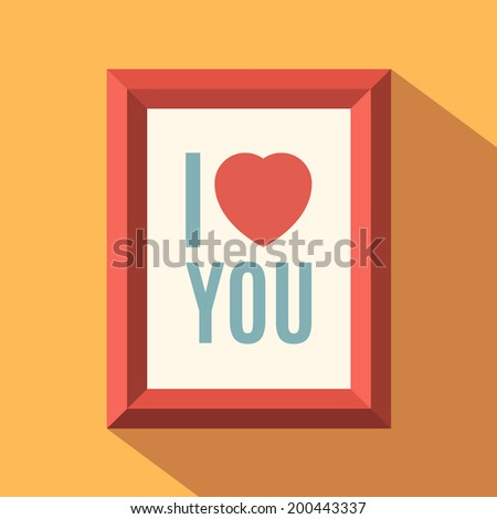 i love you poster flat design