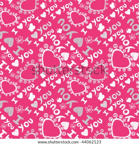 'I love you' seamless pattern with cute hearts and hand-drawn butterflies