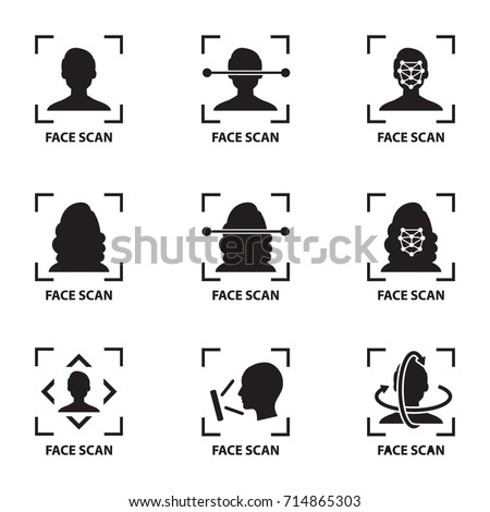icon and symbol Smartphone and computer scans a person face. Biometric identification. Facial recognition system concept.