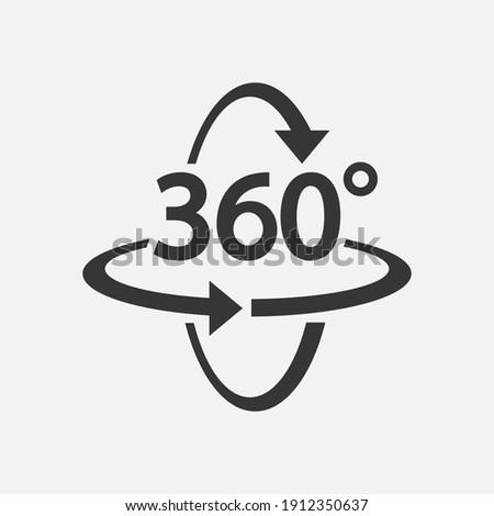 360 Icon. 360 degree view symbol. Vector illustration. Eps 10.