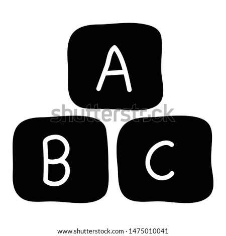 Icon of ABC block in solid design.