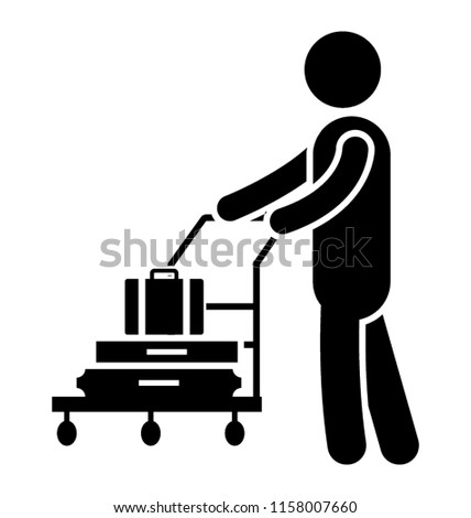 Icon of  bellboy rolling trolly depicting luggage trolly