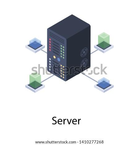Icon of server room in isometric design.