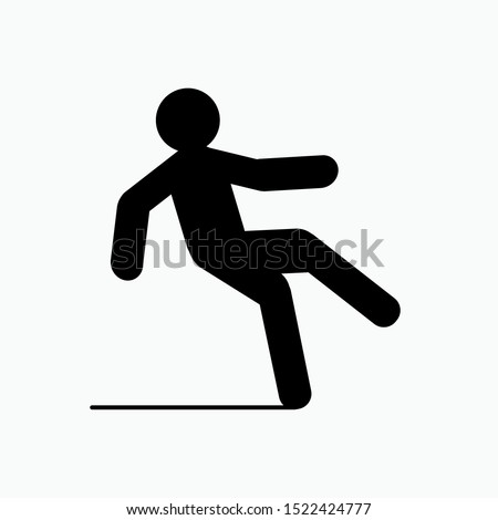 Icon of Slippery Area - Wet Floor Vector, Sign and Symbol for Design, Presentation, Website or Apps Elements.