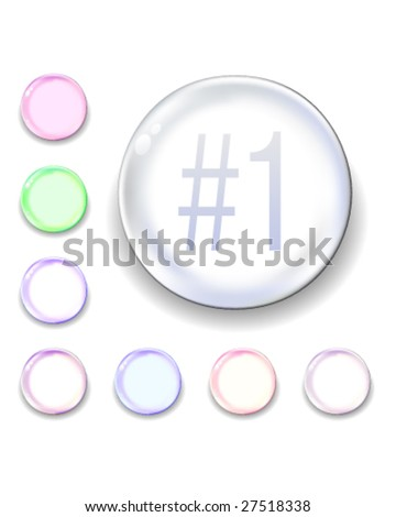 #1 icon on translucent glass orb vector button