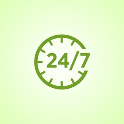 24 7 icon. open 24 hours a day and 7 days a week icons