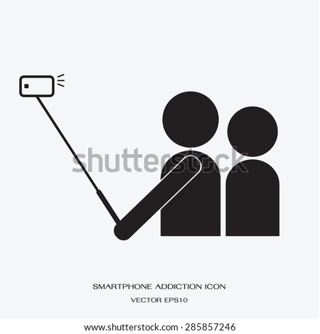 icon people using smartphone take a self photo by selfie stick