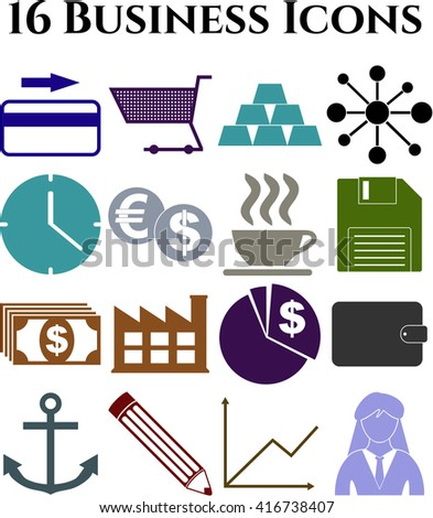 16 icon set. business Icons. Minimal Modern.