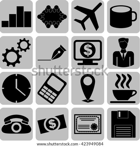 16 icon set. business Icons. Set of web Icons.