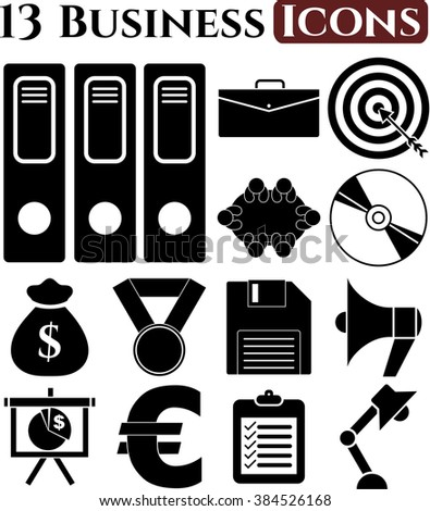 13 icon set. business Icons. Universal and Standard Icons.