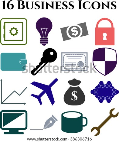16 icon set. business Icons. Universal and Standard Icons.
