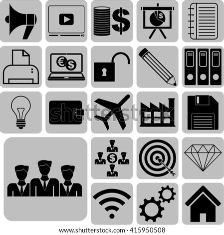 22 icon set. business Icons. Universal Modern Icons.