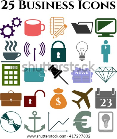 25 icon set. business Icons. Universal Modern Icons.