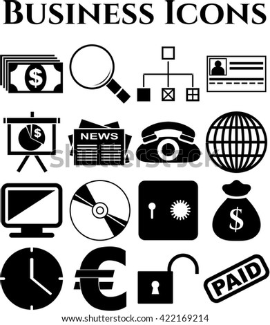 16 icon set. business Icons. Universal Modern Icons.