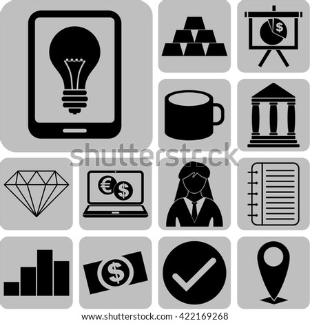 13 icon set. business Icons. Universal Modern Icons.