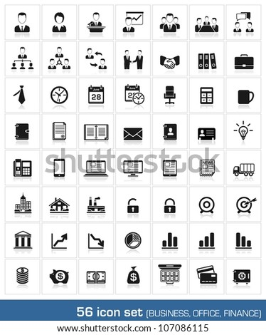 56 icon set. Business, office, finance, human resources and management. vector