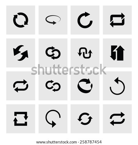 16 icon set of refresh, reload, loader arrow. black icons on white background. Tidy, clean, simple, minimal, solid, plain style. Vector illustration web internet design element
