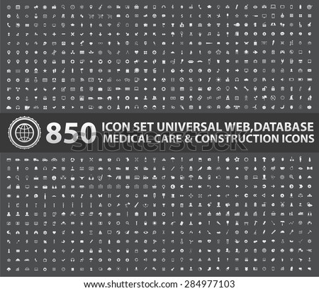 850 Icon set,Universal Website,Business,Finance,Marketing,Medical,Construction,Industry ,Learning and Education icons, clean vector