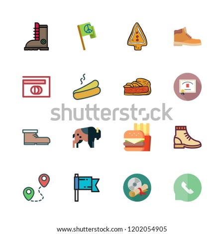 icon set. vector set about diploma, speech bubble, cookie and boot icons set.