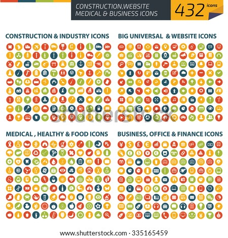 432 Icons,Construction,industry,universal website,Medical,healthy care,business office icons,clean vector #335165459