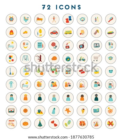 72 icons for kids. Childish vector illustration for toddler schedule Stock photo ©