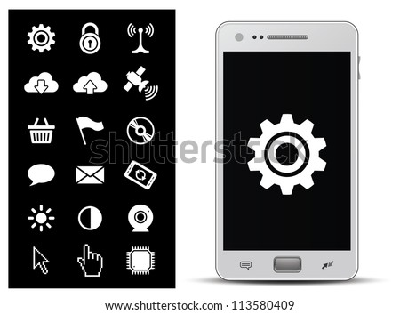 18 icons for smart phone or tablet. Connection, online shopping, internet and finance