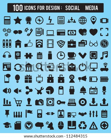 100 Icons For Web and Design Elements - social media vector icons