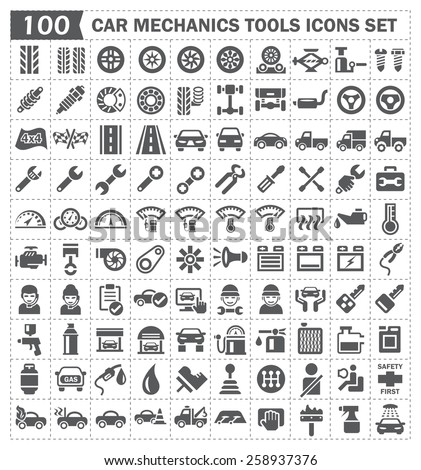 100 icons of car mechanics tools and accessories