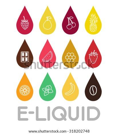 icons of  e liquid vector e