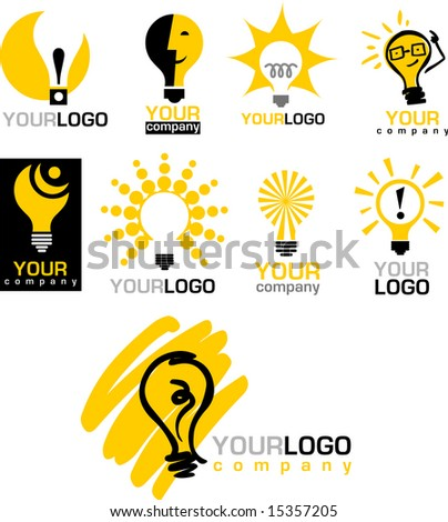 icons of  light bulb - stock vector