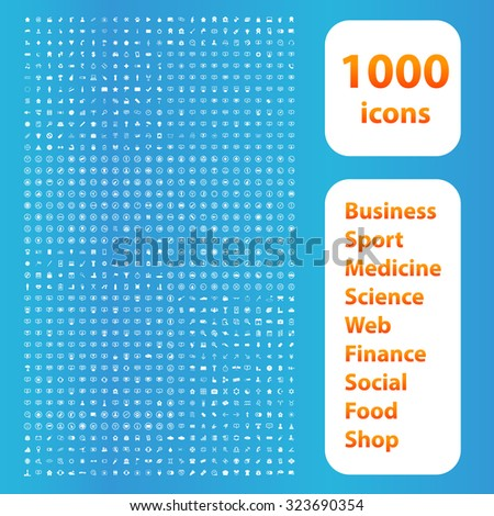 1000 icons set. Business or financial signs. Science and social activities vector illustration
