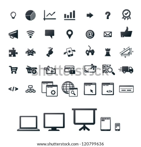 40 icons, set for gaming, programming and web-shop
