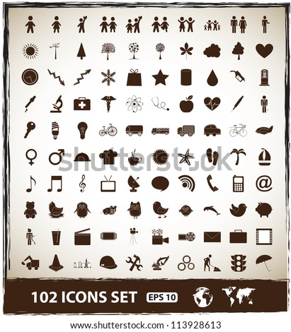 102 icons set of world, fruits, objects and communications over vintage background