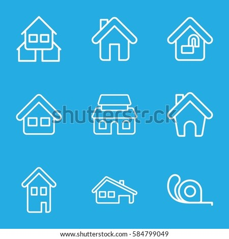 10 icons set. Set of 9 10 outline icons such as tape, home, house building