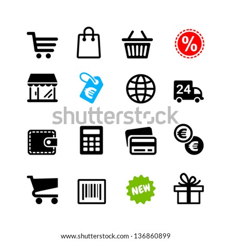 16 icons set. Shopping, Euro